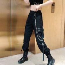 Women Punk Gothic Harem Trousers Straight Wide Leg Casual Combat Cargo Pants