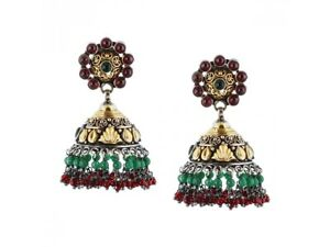 Handcrafted Silver Gold Plated Drop Beads Chandelier Earrings Gemstone Jewelry