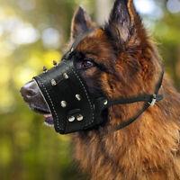 Leather Muzzle for Large Dog Anti Bite Adjustable Soft Padded German Shepard USA