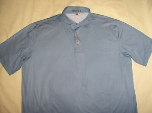 PETER MILLAR Summer Comfort Polo Shirt,XL,Blue+White Check,Poly Stretch,Ex Cond!