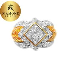 5.25 CT CITRINE FRENCH CUT AND 2.10 CT PRINCESS AND ROUND RING BAND COCKTAIL