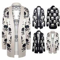 Womens Ladies Long Waterfall Skull Bones Open Front Knitted Sweater Cardigan Top