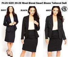 LADIES PLUS SIZE 20-26 BLAZER TAILORED SUIT BLACK GREY BLUE SMART WORK JACKET