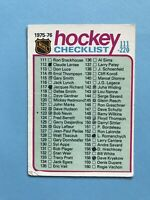 1975-76 O-Pee-Chee OPC Hockey Card Marked Checklist #171