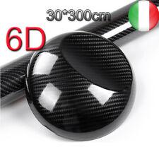 6D Fibra di Carbonio Trama Vinile Nero Auto Adesivo Pellicola Foglio 300 *30cm