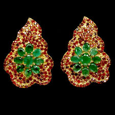 NATURAL GREEN EMERALD & FANCY COLOR SAPPHIRE 925 STERLING SILVER EARRINGS