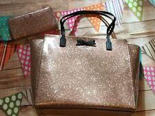 Auth. Kate Spade NY Mavis Street Taden Large Rose Gold Tote neda wallet set New