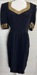 VTG ESCADA MARGARETHA LEY Gold Sequin Black Dress Sz 40 NWT STUNNING!