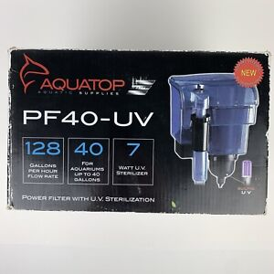 "Aquatop Power Filter with UV Sterilizer 7 Watts - 128 GPH - 8.5""L x 6.5""W x 1..."