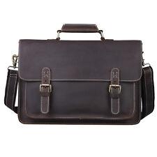 """Men's Real Leather Shoulder Messenger Bag 14"""" Laptop Case Hard Briefcase Attache"""