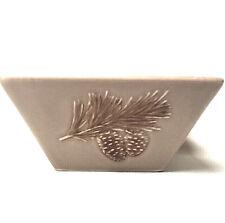 St. Nicholas Square Winter Cabin Bowl Pine Cone Handpainted