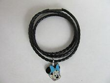 BRAIDED FAUX LEATHER MULTI WRAP BRACELET BLACK DANGLE DISNEY MINNIE CHARM