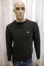 LACOSTE Maglione L Uomo Taglia 3 Casual Lana Sweater Pull Pullover Grigio Man