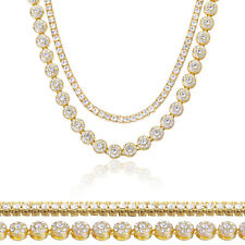 """Men's Gold Toned CZ Iced Out 24"""" Flower Chain & 18"""" Tennis Chain Necklace Set"""