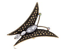 Abstract Wing Antique Texture Butterfly Rhinestone Adjustable Ring Chic Jewelry