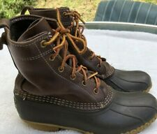 Vtg LL Bean Maine Hunting Shoe Mens Leather Duck Boots US 8 D M Made USA Brown