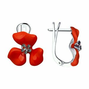 NEW SOKOLOV FLOWERS RED ENAMEL 925 SILVER EARRINGS