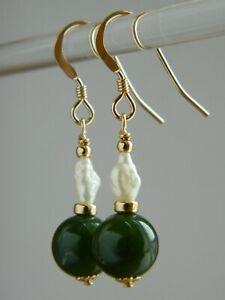 Vintage Genuine Green Nephrite JADE Gemstone, River Pearls, Rolled Gold Earrings