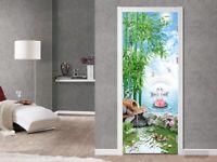 3D Bamboo Lake Scenery Self-adhesive Living Room Door Murals Wall Stickers Decor