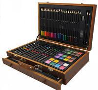 112 teiliges Buntstift Farbstift Acrylfarben Set im Koffer Zeichnen Malen Skizze
