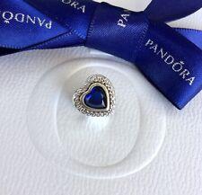 Authentic Pandora Silver Blue CZ Crystal Sparkling Love Hearts Charm #797608NANB