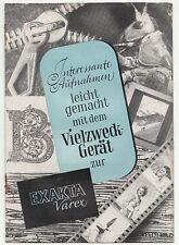 Reklame Prospekt Exakta Varex Vielzweck Gerät Ihagee Dresden 1954 DDR !