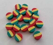 Fimo Rasta Disc Beads Lot of 20 OR 100 DIY Charm