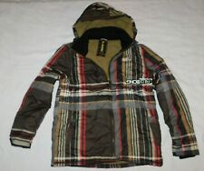Billabong Brown Plaid Puffer Jacket Coat Size Large Brand New