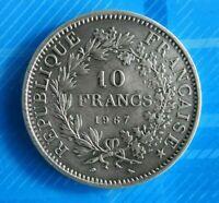 #0791# JOLIE PIECE DE 10 FRANCS HERCULE 1967 ARGENT/ SUP