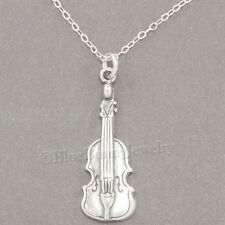 "VIOLIN Musical Instrument Charm Pendant  925 STERLING SILVER 18"" chain Necklace"