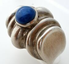 Sterling Silver Lapis Lazuli Dome Ring Blue Gemstone Size 8 Vintage 925 Wide