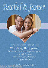 Wedding Abroad Invitations Wedding Reception Photo in Heart x 12 with env H0111