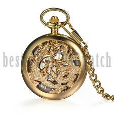 Steampunk Retro Skeleton Mechanical Windup Pocket Watch Chain Pendant Necklace