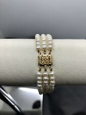 Gorgeous 14K Yellow Gold Ornate Clasp & 3 Strand Pearl Bracelet