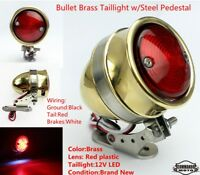 Motorcycle 12V Brass Rear Tail Brake Stop LED Light For Harley Chopper Bobber