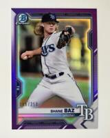 2021 Bowman Prospects Chrome Purple #BCP-134 Shane Baz /250 - Tampa Bay Rays