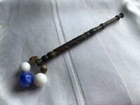 Lace Bobbin Wooden Blue White Glass Beaded Spangle Wire Spiral