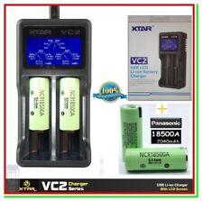 2 Batterie Pile Litio Ricaricabili PANASONIC 18500A 2040mAh +Caricatore XTAR VC2