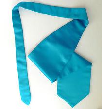 Turquoise satin cravats Mens formal wedding ruche tie Single wing Self tie NEW