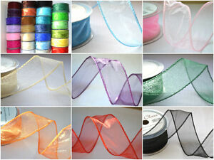 50mm wired organza ribbon flowers wedding 2 5 20m lengths CHOOSE COLOUR