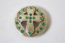 New Enmon Green Rhinestone Cross Concho Leather Western Belt Round Silver Tack