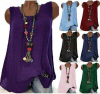 Tops Plus Size Loose Sleeveless  Boho  Blouse  Womens FashionT T-shirts