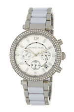 Michael Kors Parker Women'S Silver Steel White Glitz Chronograph Watch MK6354