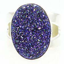 Ring Jay King Drt Size 6.5 Estate .925 Sterling Silver Purple Druzy