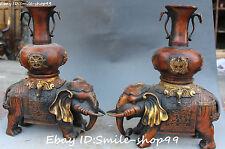 """14"""" Chinese Bronze Gilt 8 Symbol Elephant Flower Vase Bottle Vases Pair Statue"""