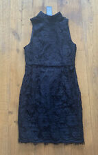 Lovely Ladies Black Lace High Neck Dress From New Look - Size 10 BNWT