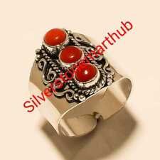 Handmade Ring Stylish Ring Jewelry Coral 925 Silver Overlay Ring