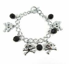 Charm Bracelet Halloween Jewellery (02) Black Silver Tone Skull & Crossbones