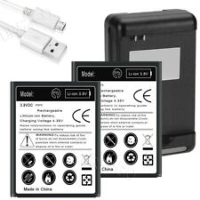 2x 5250mAh Battery Wall Charger Sync Cable for Samsung Galaxy S3 S III SCH-S968C