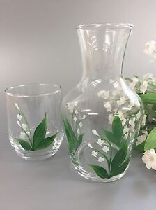 Individually hand painted Lily Of The Valley Carafe Set